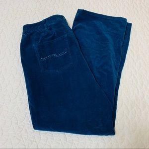 Talbots Woman 12W Stretch Blue Velour Pants